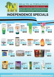 HEALTH ALTERNATIVE-INDEPENDENCE SPECIALS-GABORONE/F/TOWN/PALAPYE-VALID TILL 15 OCTOBER 2019